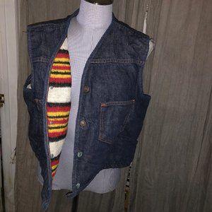 Carhartt denim wool desert striped lined vest  L